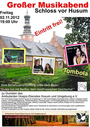 Großer Benefiz-Musikabend im Schloss vor Husum zu Gunsten Ambulanter Hospiz-Dienst