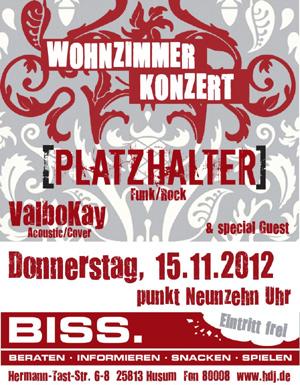 Konzert mit PLATZHALTER, ValboKay & special Guest im Haus der Jugend Husum