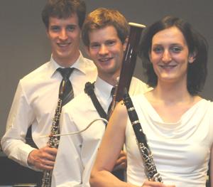 Abschlusskonzert mit einem  Holzbläsertrio in der Reihe Junge Meister im Schloss vor Husum