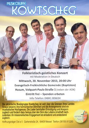 Musikgruppe Kowtscheg kommt nach Husum in die Evangelisch-freikirchliche Gemeinde