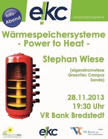 """Vortrag zum Thema """"Wärmespeichersysteme"""" in der VR-Bank Bredstedt"""
