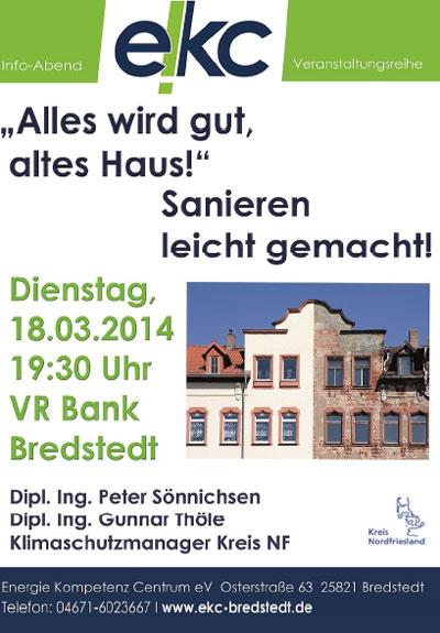 Vortrag in der VR-Bank Bredstedt: Alles wird gut altes Haus/ Altbau sanieren