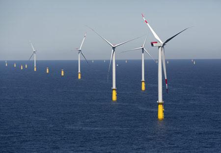 Offshore-Windpark DanTysk 70 km vor Sylt speist ersten Strom ein