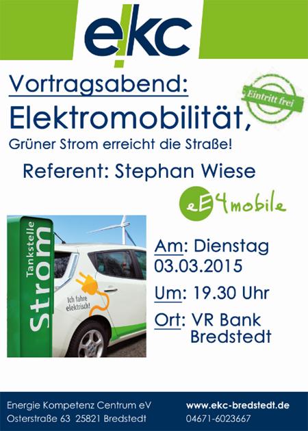 Vortrag in Bredstedt: Elektromobilität – Grüner Strom erreicht die Straße